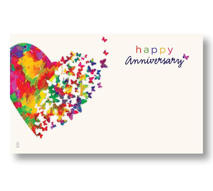 ENCL CARD ANNIVERSARY HEARTS AFLUTTER