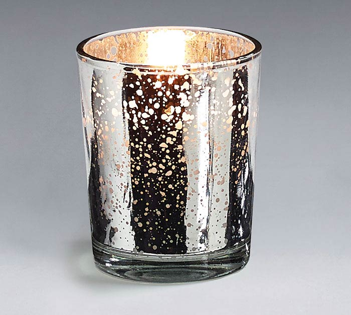 SILVER MERCURY GLASS VOTIVE CANDLE 10HR