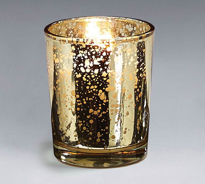 GOLD MERCURY GLASS VOTIVE CANCLE 10HR