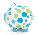BLUE/GREEN DOT CERAMIC PIG BANK 1st Alternate Image