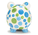 BLUE/GREEN DOT CERAMIC PIG BANK 3rd Alternate Image