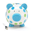 BLUE/GREEN DOT CERAMIC PIG BANK
