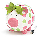 PINK/GREEN DOT CERAMIC PIG BANK