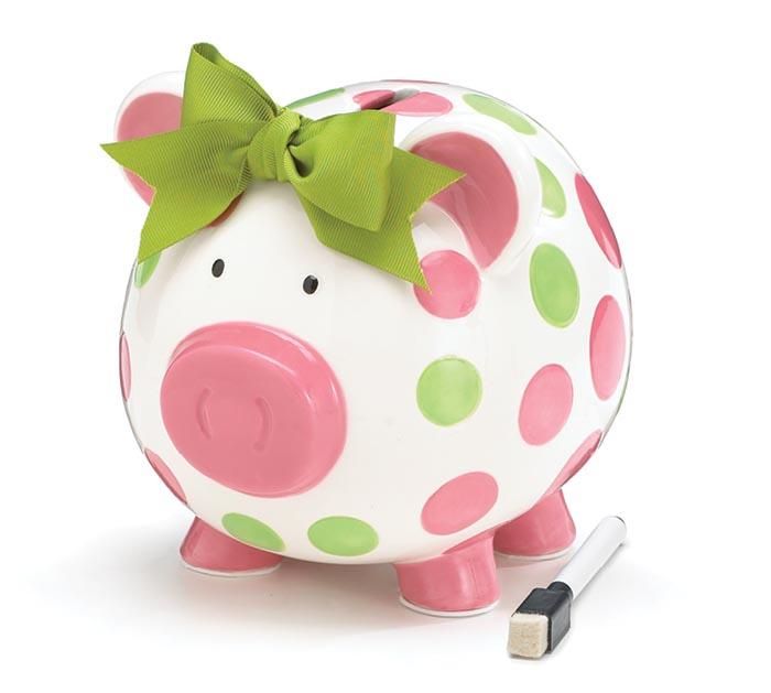 PINK/GREEN DOT CERAMIC PIG BANK