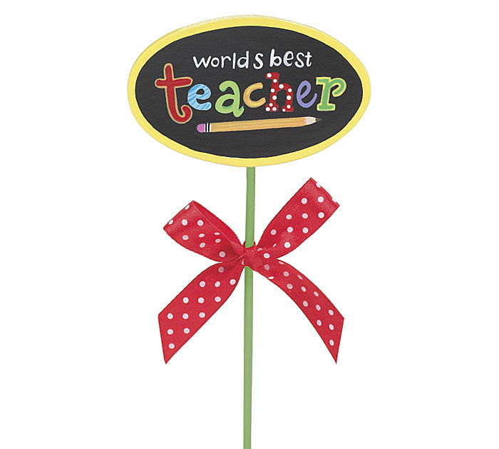 WORLD'S BEST TEACHER WOOD PICK
