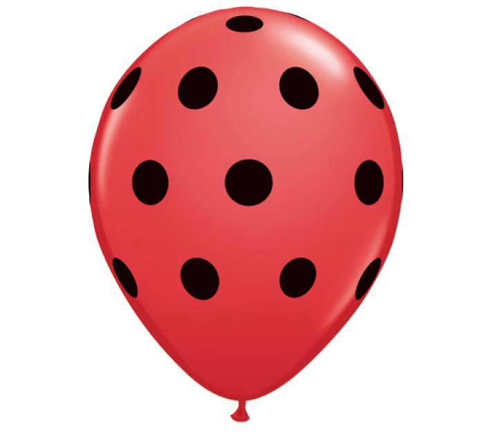 "5"" BLACK POLKA DOTS ON RED QUALATEX"