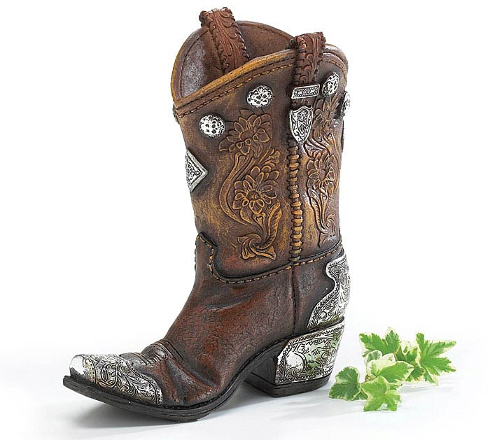 BOOTS N SPURS RESIN BOOT VASE