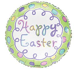 "18"" HAPPY EASTER ON DOTS FOIL BALLOON"
