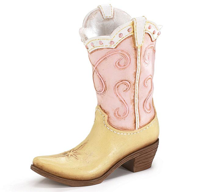 HOWDY COWGIRL PINK RESIN BOOT VASE