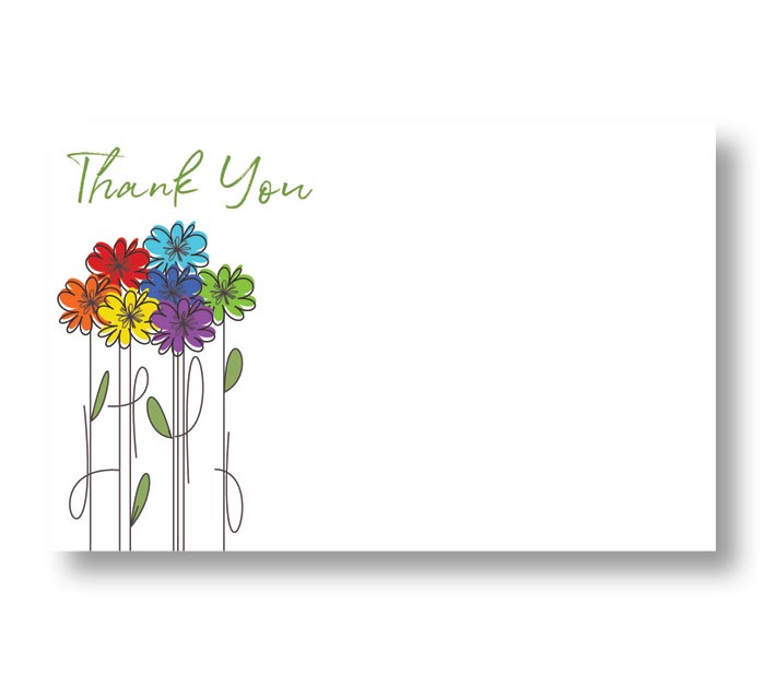 ENCL CARD THANK YOU LINE DRAWN FLOWERS