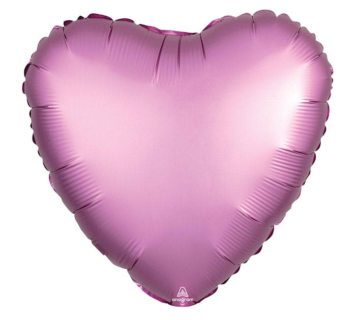"17""SOL SATIN LUXE FLAMINGO HEART"