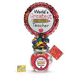 TEACHER CANDY GIFT JAR W BALLOON