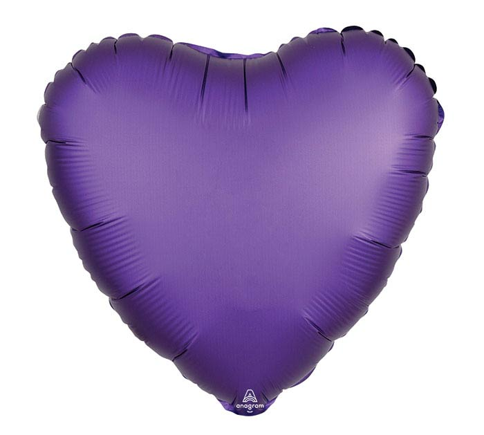 "17""SOL SATIN LUXE PURPLE ROYALE HEART"