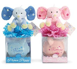 PIGGY BANK W PLUSH GIFTABLE