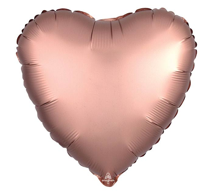 "17""SOL SATIN LUXE ROSE COPPER HEART"