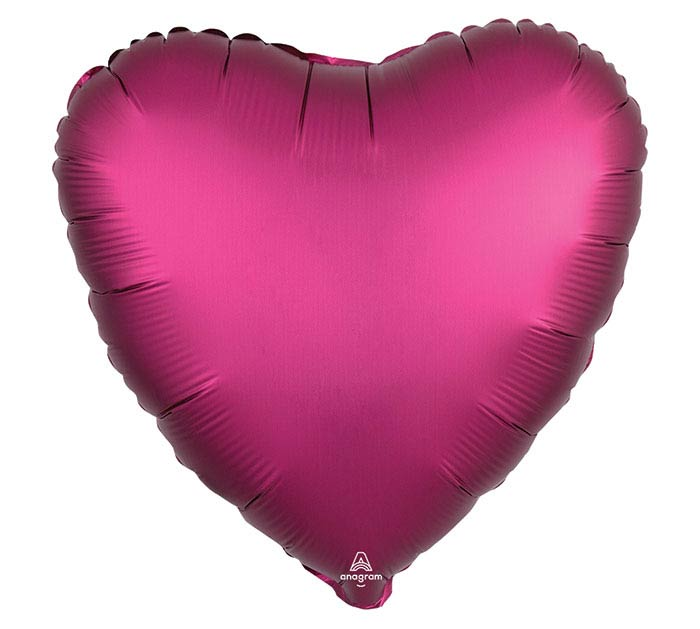 "17""SOL SATIN LUXE POMEGRANATE HEART"
