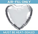 "4""FLAT SILVER HEART MINI SHAPE BALLOON"