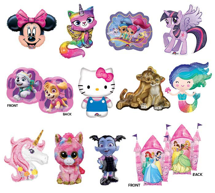 "14"" AIR-FILLED GIRL CHARACTER ASSORTMENT"