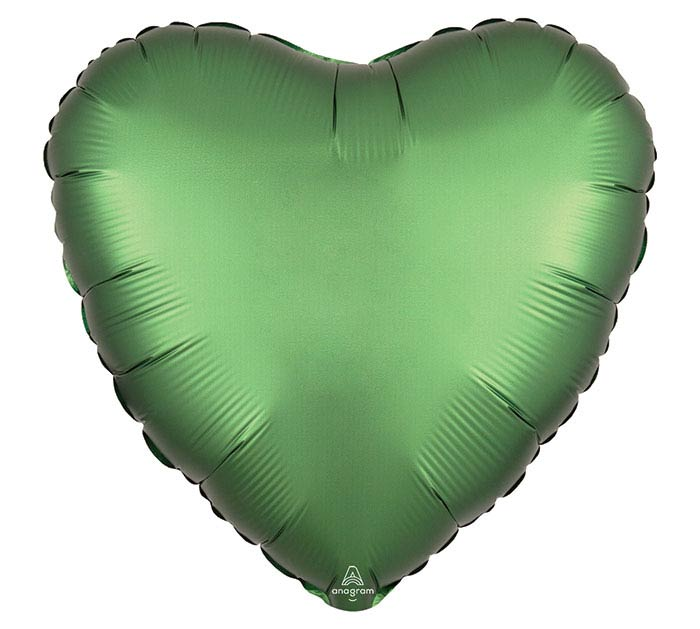 "17""SOL SATIN LUXE EMERALD HEART"