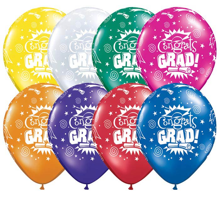 "11"" CONGRATS GRAD LATEX JEWEL ASSORTMENT"