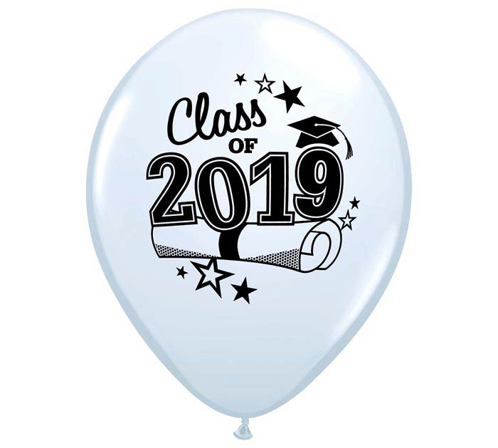 "11"" GRADUATION 2019 WHITE LATEX"