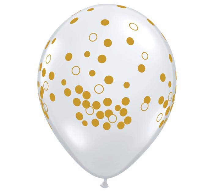 "11"" GOLD CONFETTI DOTS ON DIAMOND CLEAR"