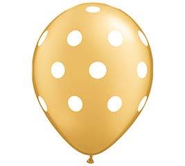 """11"""" BIG POLKA DOTS ON GOLD"""