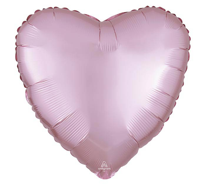 "17""SOL SATIN LUXE PASTEL PINK HEART"