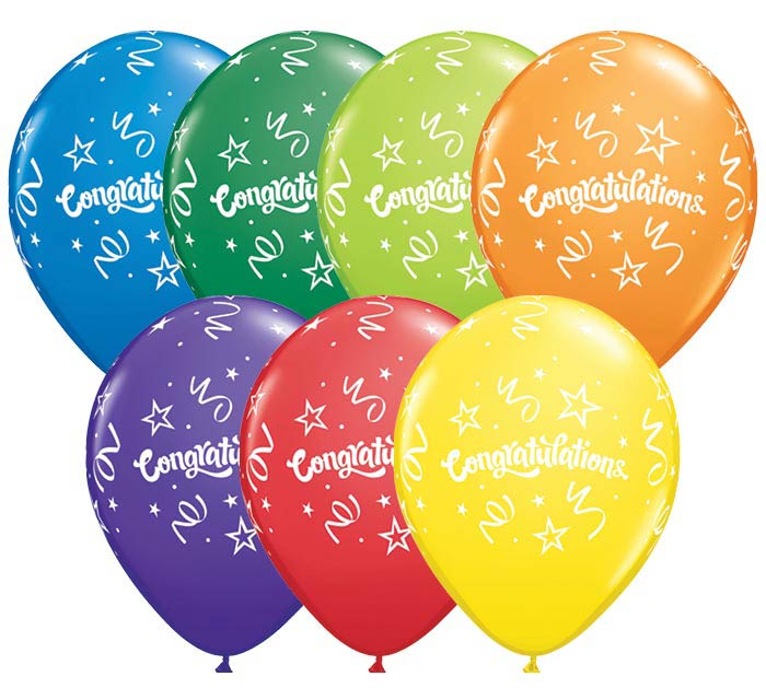 "11"" CONGRATULATIONS CARNIVAL LATEX"