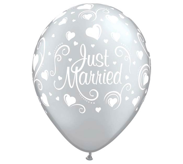 "11"" WED JUST MARRIED HEARTS SILVER"