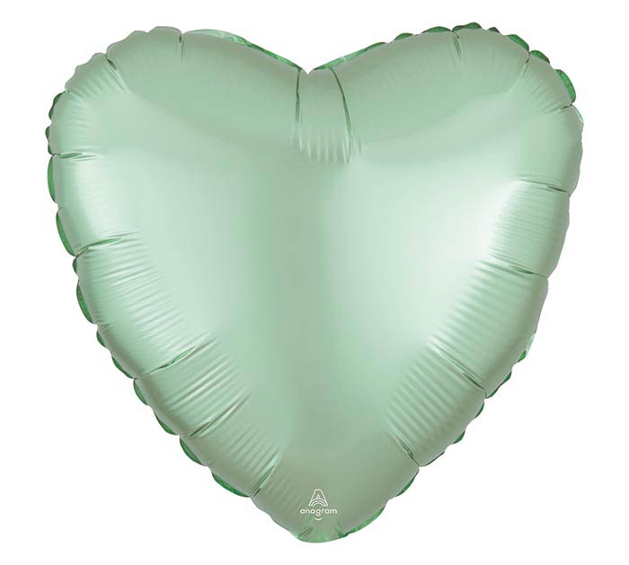"17""SOL SATIN LUXE MINT GREEN HEART"