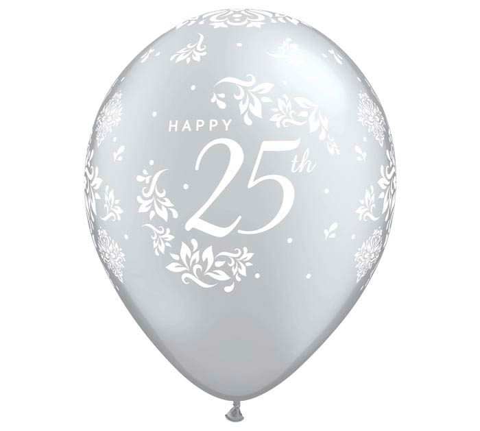 "11""ANN 25TH ANNIVERSARY DAMASK SILVER"