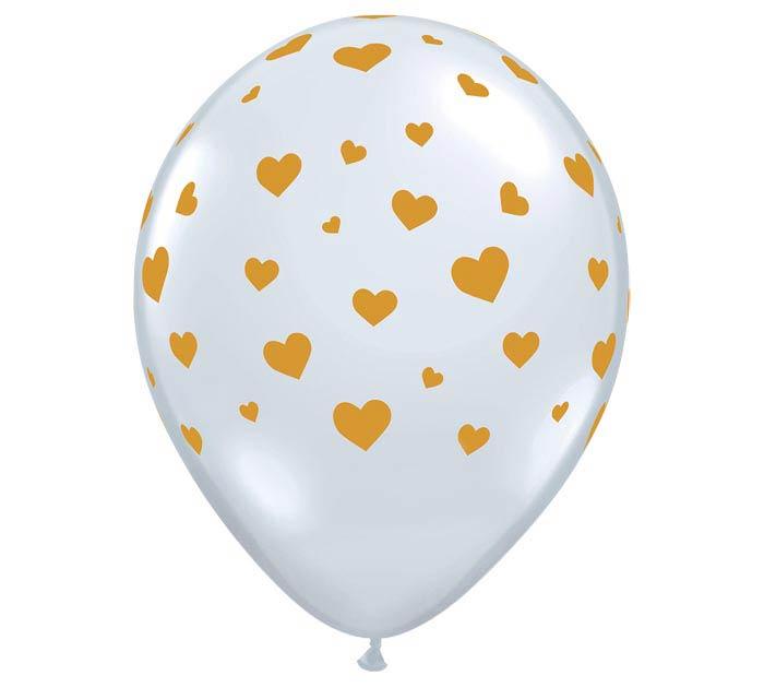 "11"" RANDOM HEARTS-A-ROUND GOLD ON DIA CL"