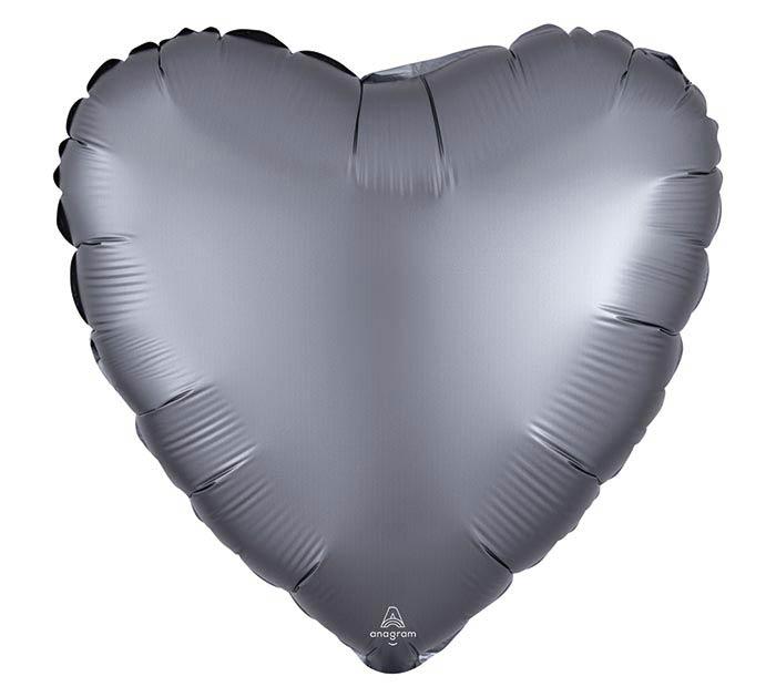 """17""""SOL SATIN LUXE GRAPHITE HEART"""