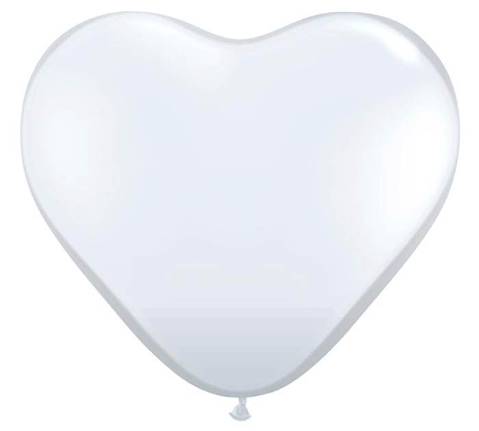 "11"" QUALATEX DIAMOND CLEAR HEART LATEX"