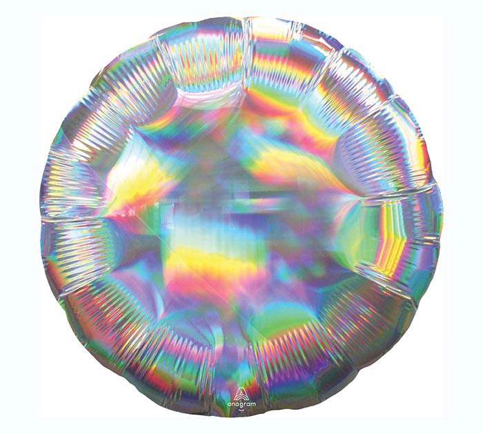 "18""SOL IRIDESCENT SILVER CIRCLE HOLOGRAP"