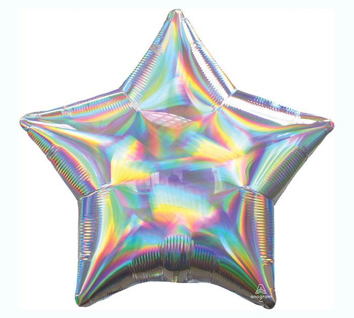 """19""""SOL IRIDESCENT SILVER STAR HOLOGRAPHI"""