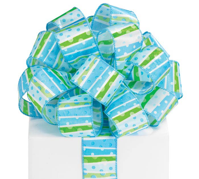 9 LIL\'BABY BOY DOTS WIRED RIBBON