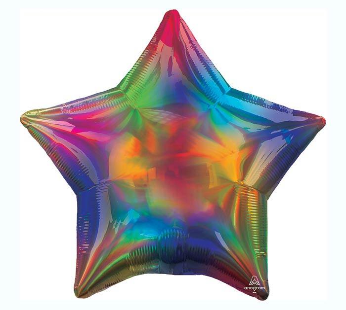 "19""SOL IRIDESCENT RAINBOW STAR HOLOGRAPH"