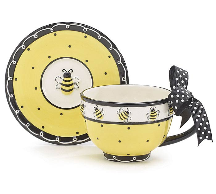 BEE DAYS CERAMIC TEACUP/SAUCER SET