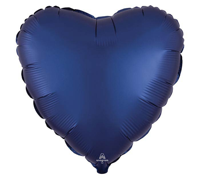 "17""SOL SATIN LUXE NAVY HEART"