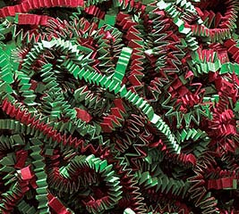 CHRISTMAS RED/GREEN CRINKLE CUT SHRED