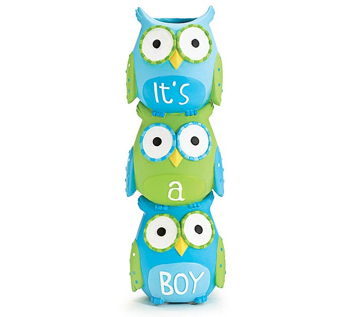 WHOO'S CUTEST BOY STACKED OWL RESIN VASE