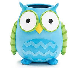 WHOO'S CUTEST BOY OWL RESIN VASE