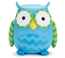 WHOO'S CUTEST BLUE OWL RESIN BANK