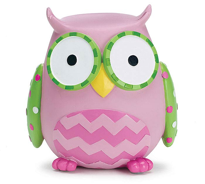 WHOO'S CUTEST GIRL RESIN OWL BANK