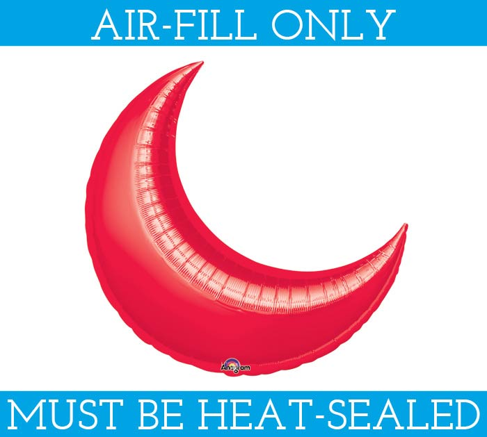 "10""FLAT RED CRESCENT BALLOON"