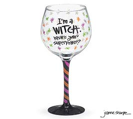 I'M A WITCH/SUPERPOWER WINE GLASS