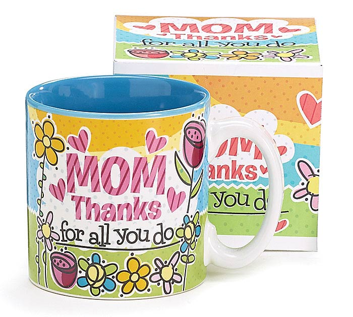 THANKS MOM CERAMIC MUG W/BOX
