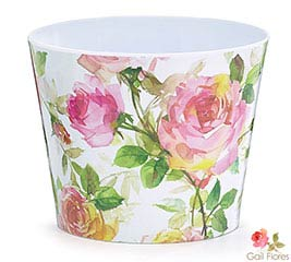 "6"" ROSE GARDEN MELAMINE POT COVER"